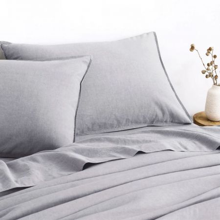 Sheridan Washed Linen Cotton Pair Pillowcase Grey